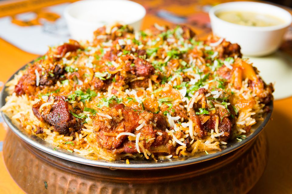 close-up of biryani in a dish