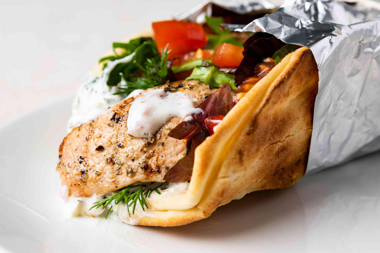 Greek Chicken Souvlaki Gyro Wrap
