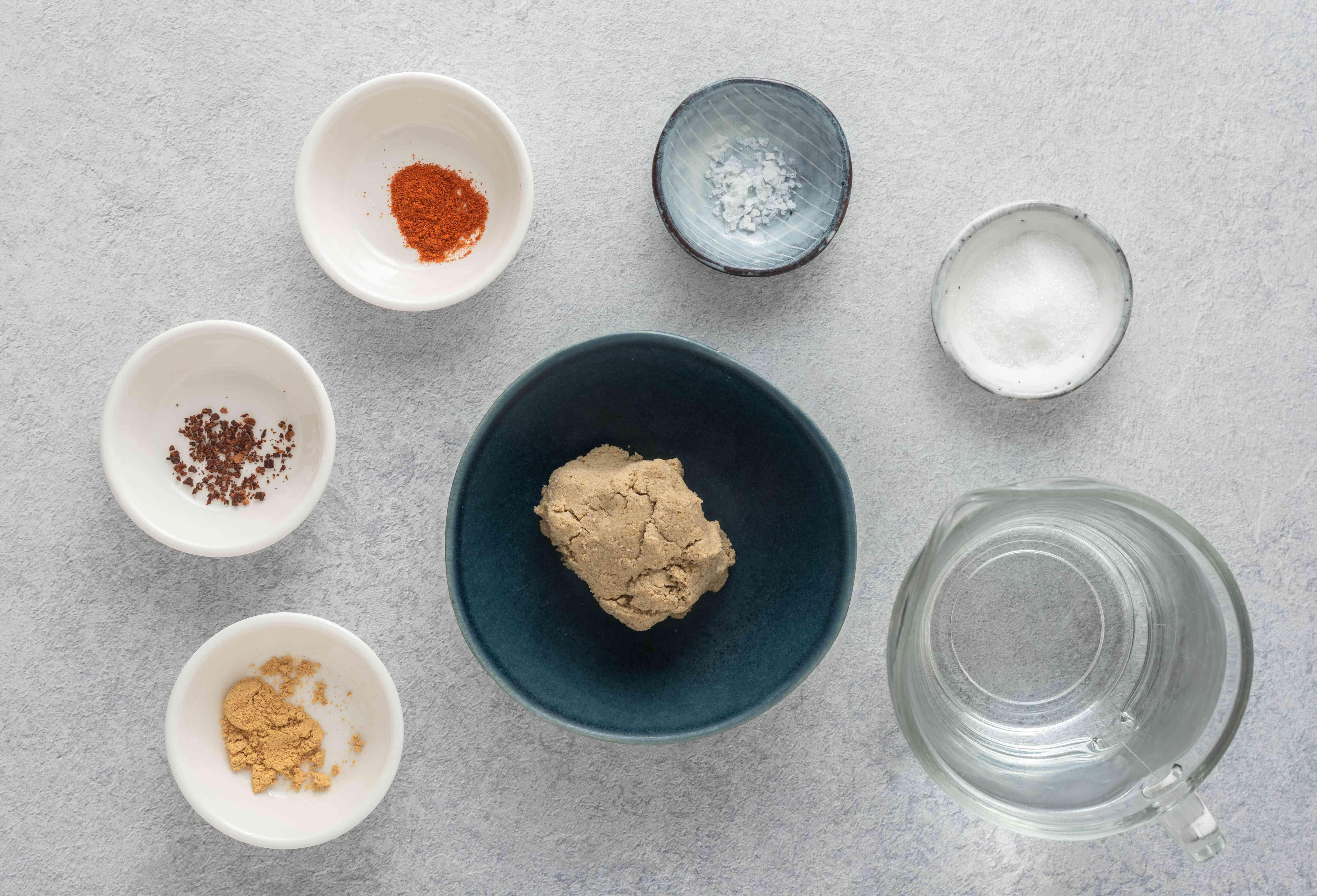 Hausa Koko ingredients, fermented corn or millet dough, water, salt, ground clove, ginger, chili, sugar