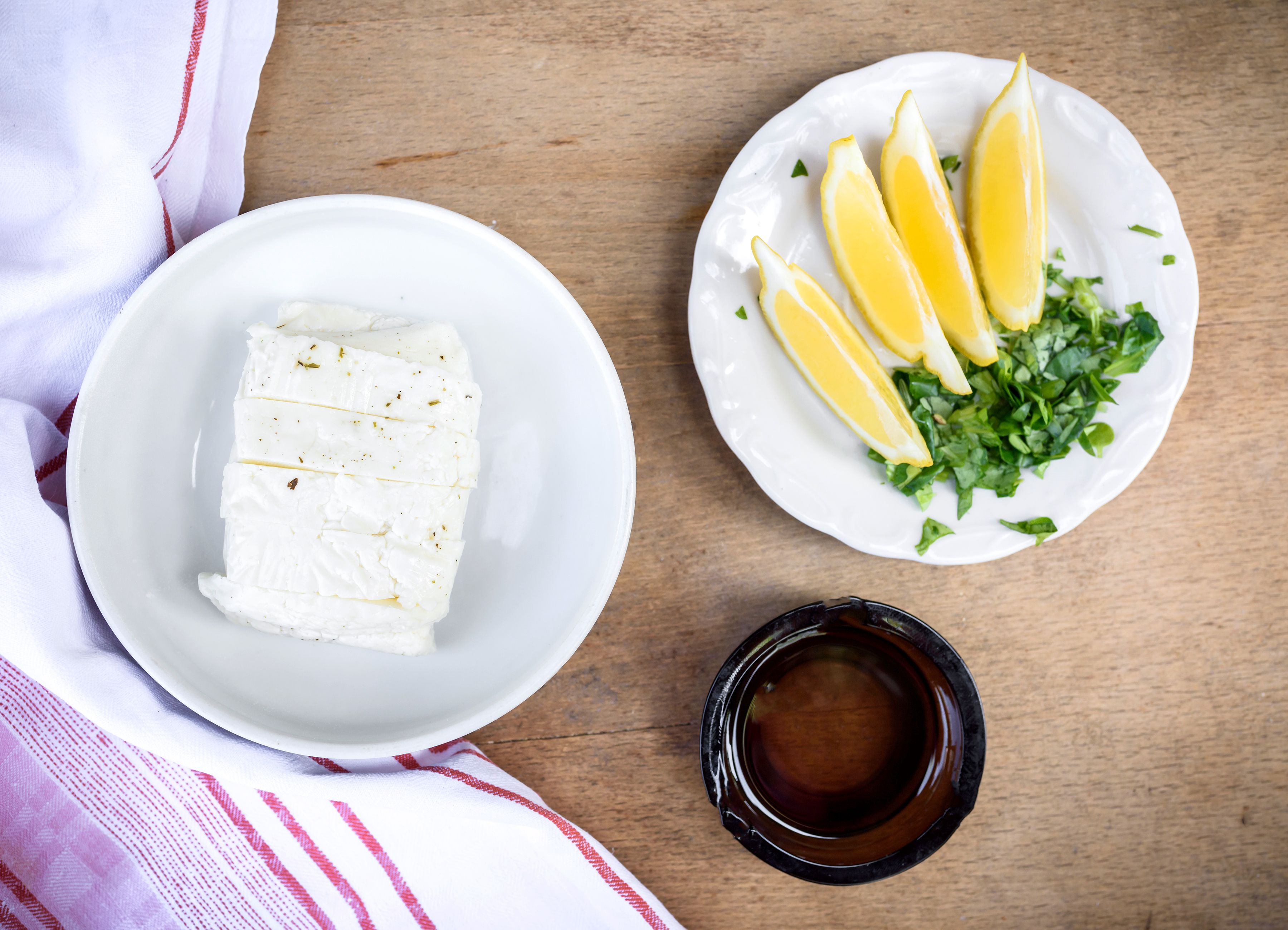 Ingredients for grilled halloumi