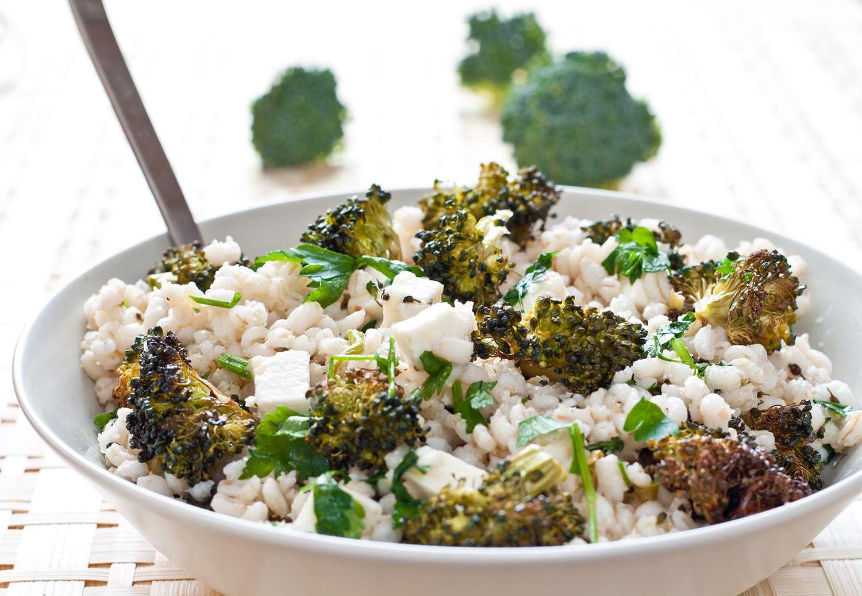 Roasted broccoli and farro salad with feta