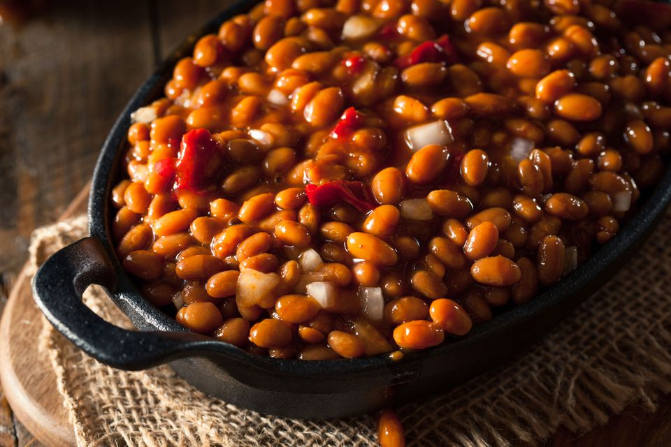 Bourbon Baked Beans in a Cast Iron Pan