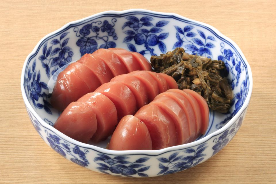 Pickled Red Radish Slice Bowl Japanese Food