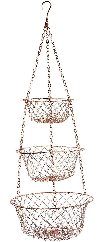 Fox Run 3-Tier Copper Kitchen Hanging Fruit Baskets