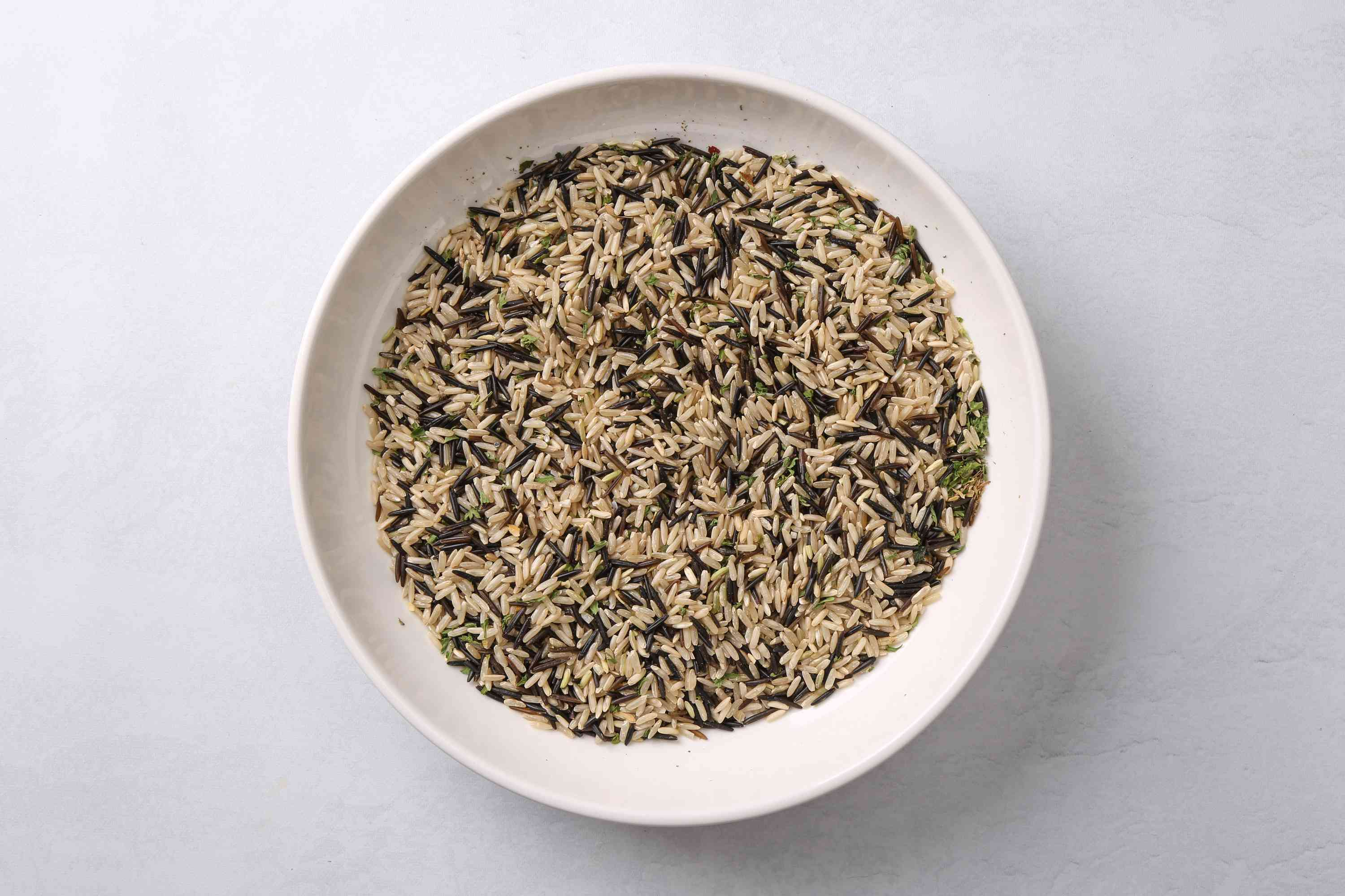 Long Grain Wild Rice Mix ingredients in a bowl
