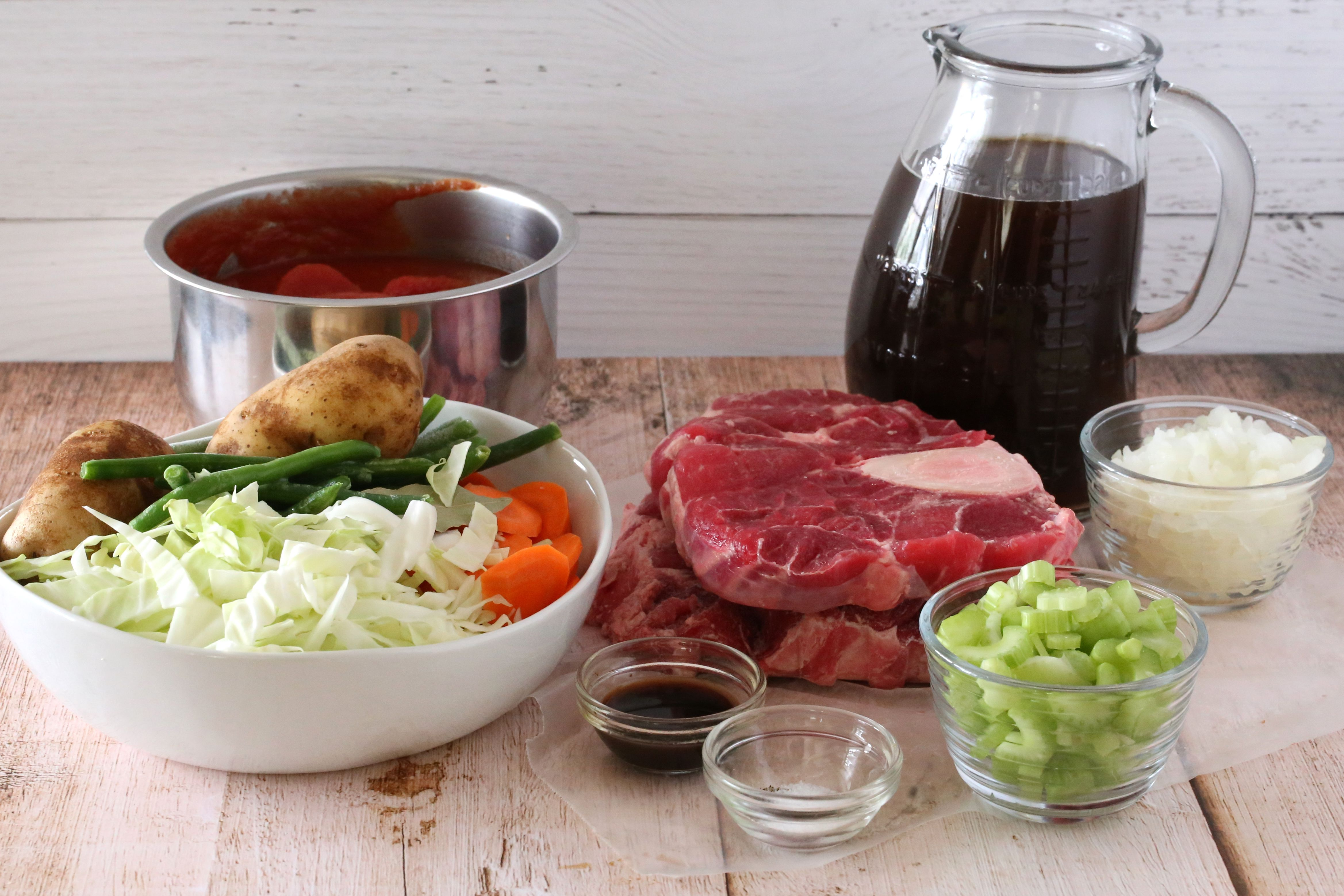 Ingredients for old-fashioned vegetable beef soup
