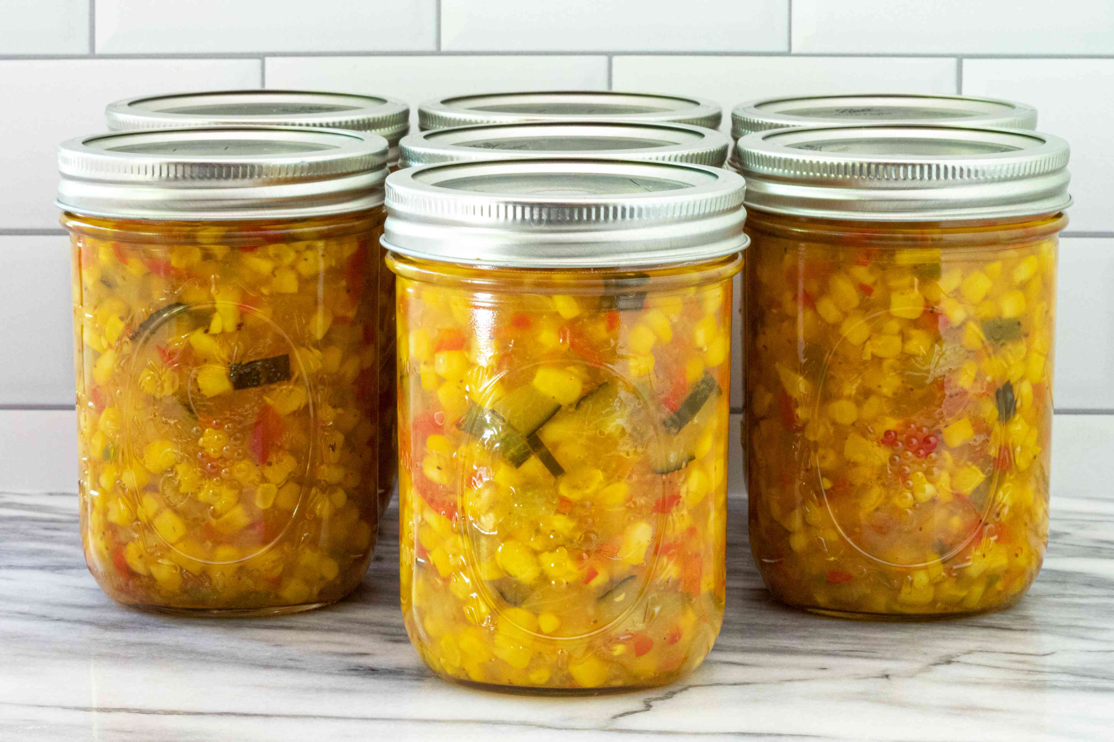 Seven pints of home canned corn relish.