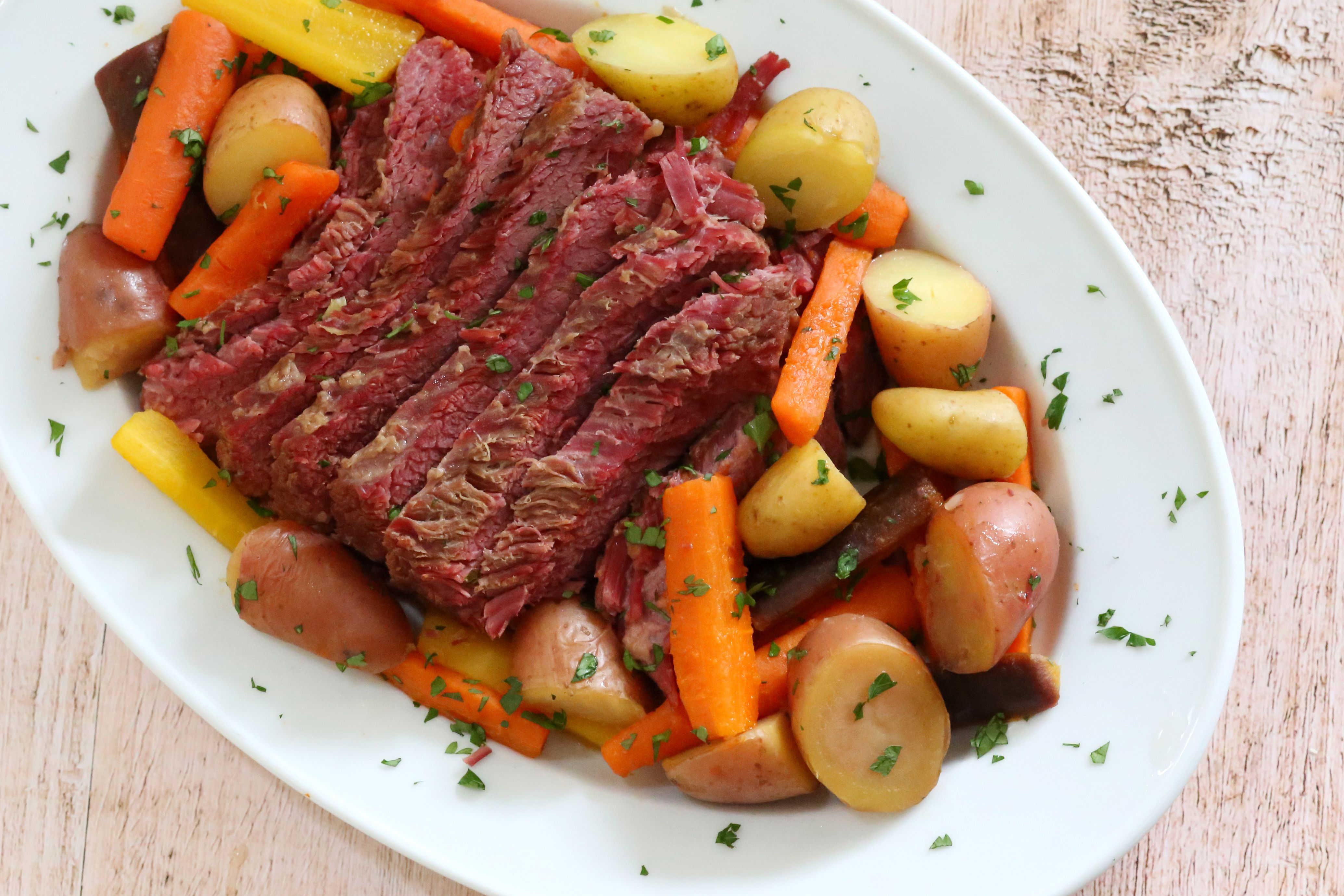 Instant Pot corned beef with vegetables.
