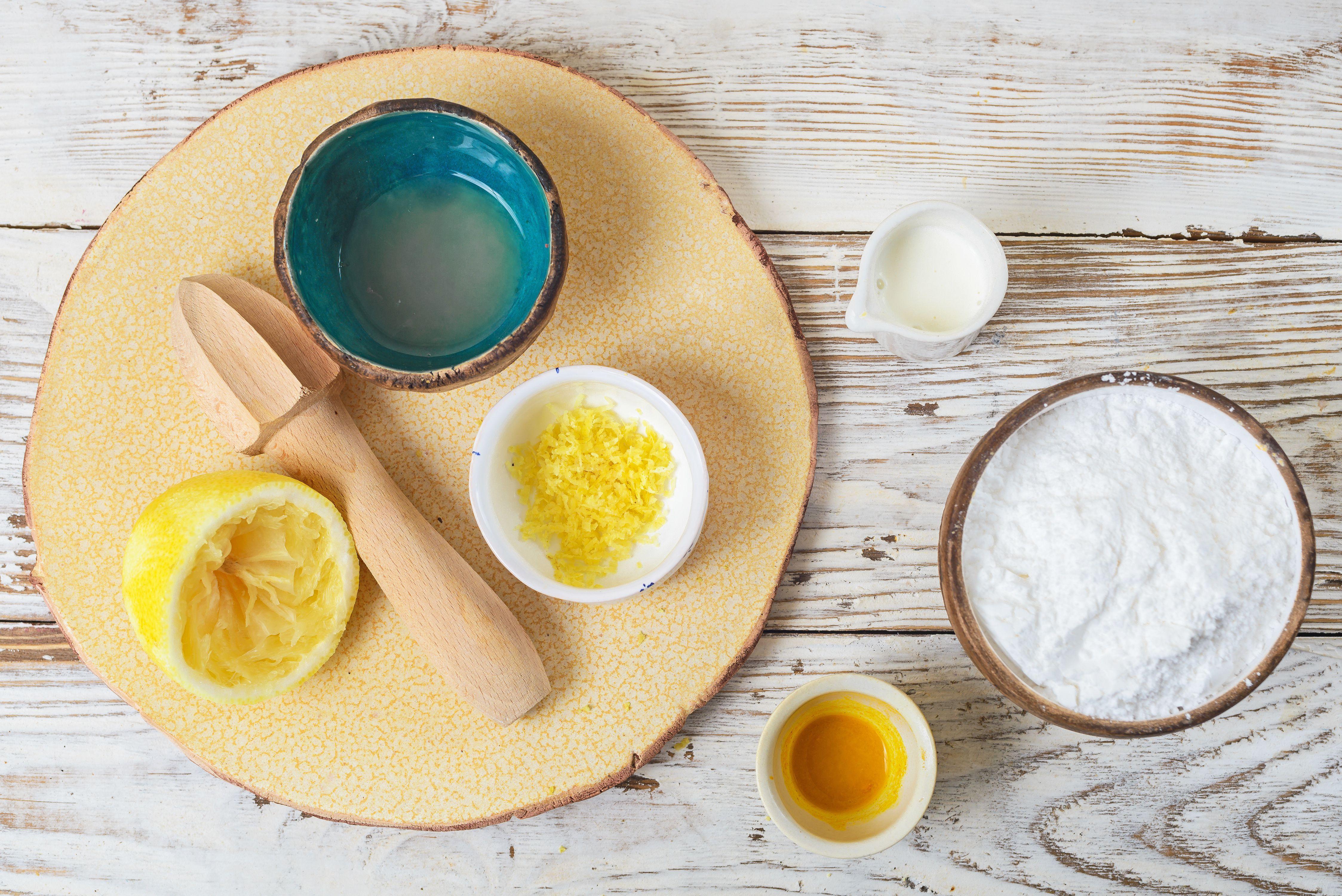 Ingredients for lemon glaze icing
