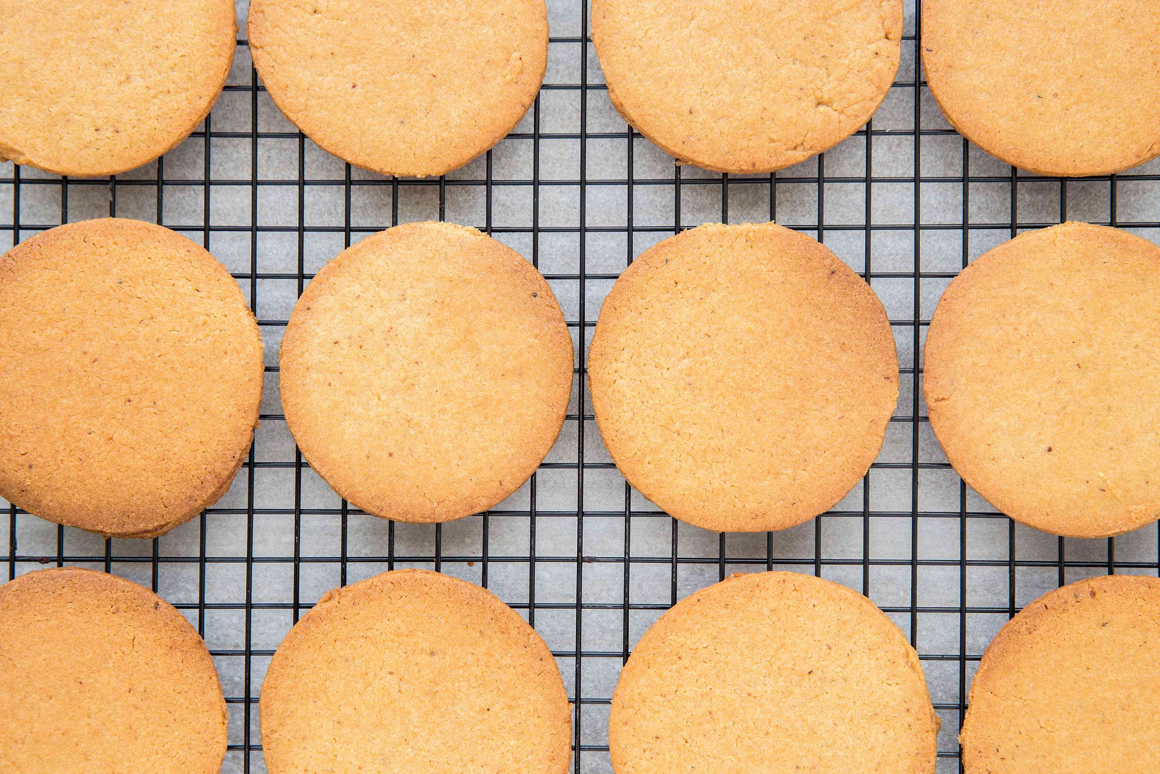 Traditional Ginger Biscuits on a cooling rack