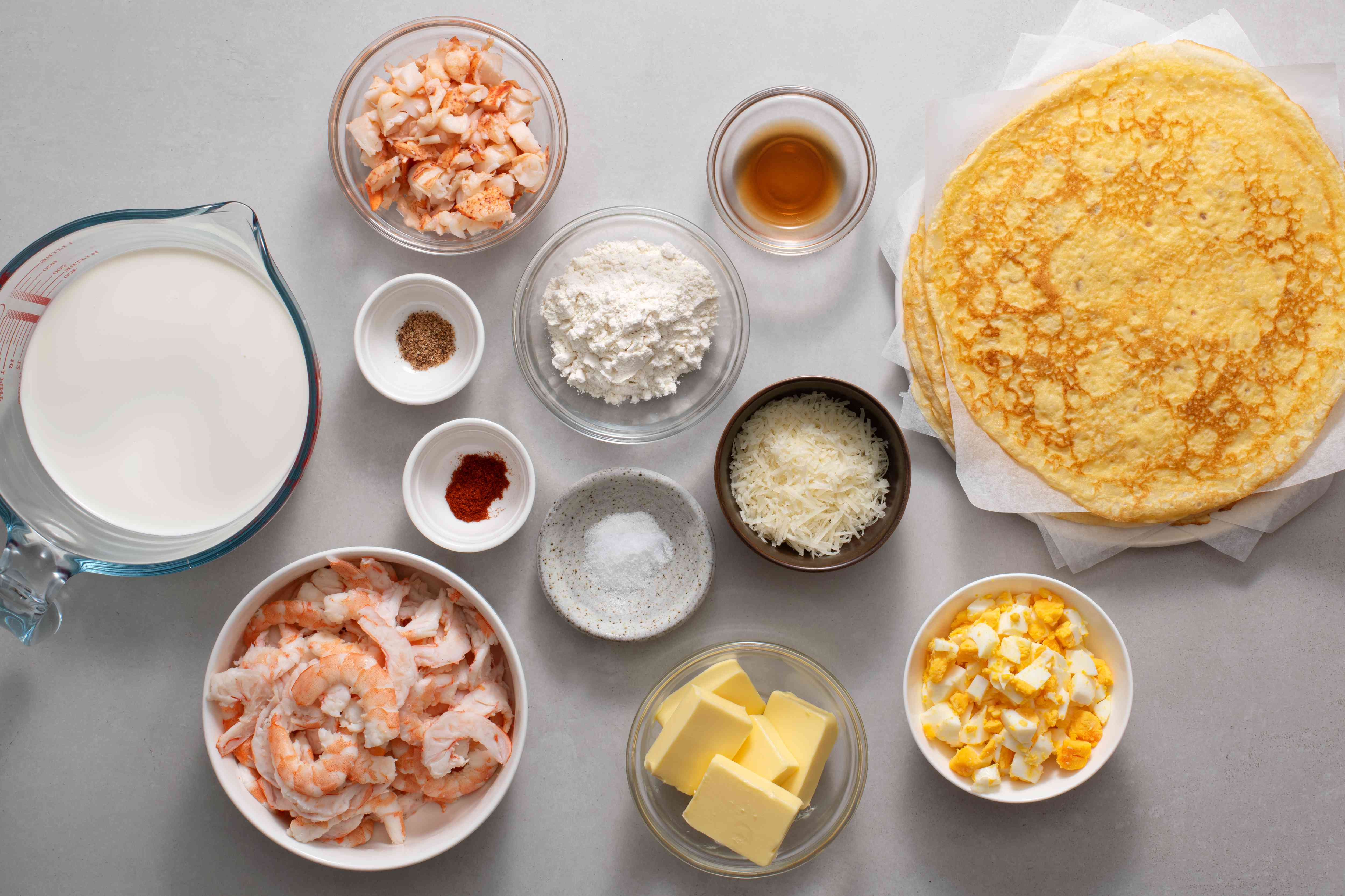 Seafood Crepes With Shrimp & Lobster ingredients