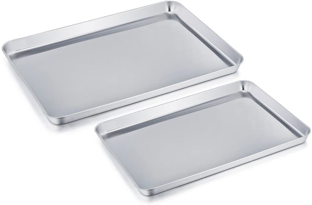 TeamFar Pure Stainless Steel Cookie Sheet Set