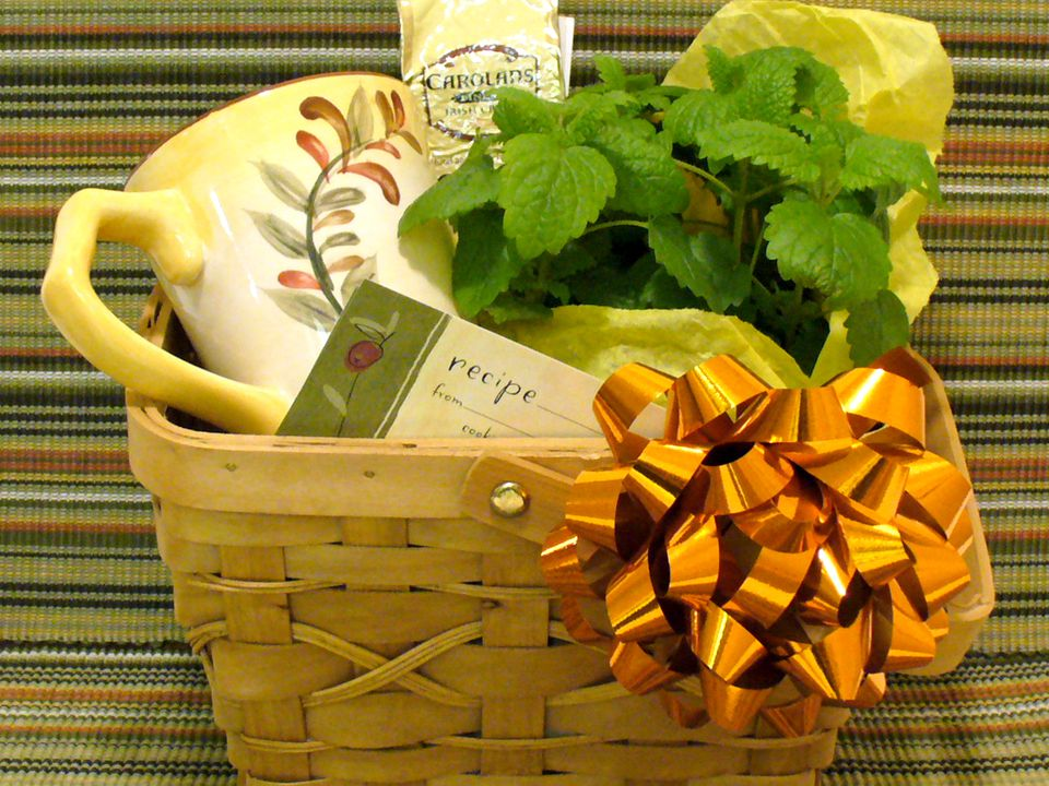 Coffee and herbs gift basket