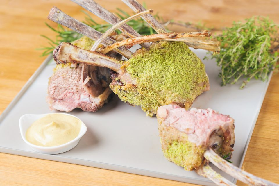 Herb and breadcrumb crusted roasted rack of lamb