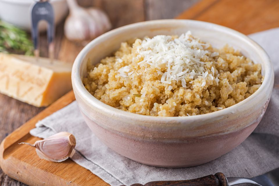 Garlic quinoa with parmesean