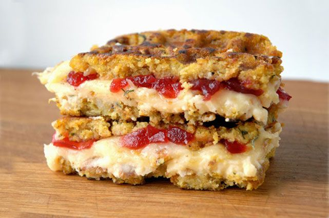 Stuffing waffle grilled cheese
