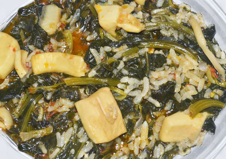 spinach with rice and cuttlefish - greek lenten food