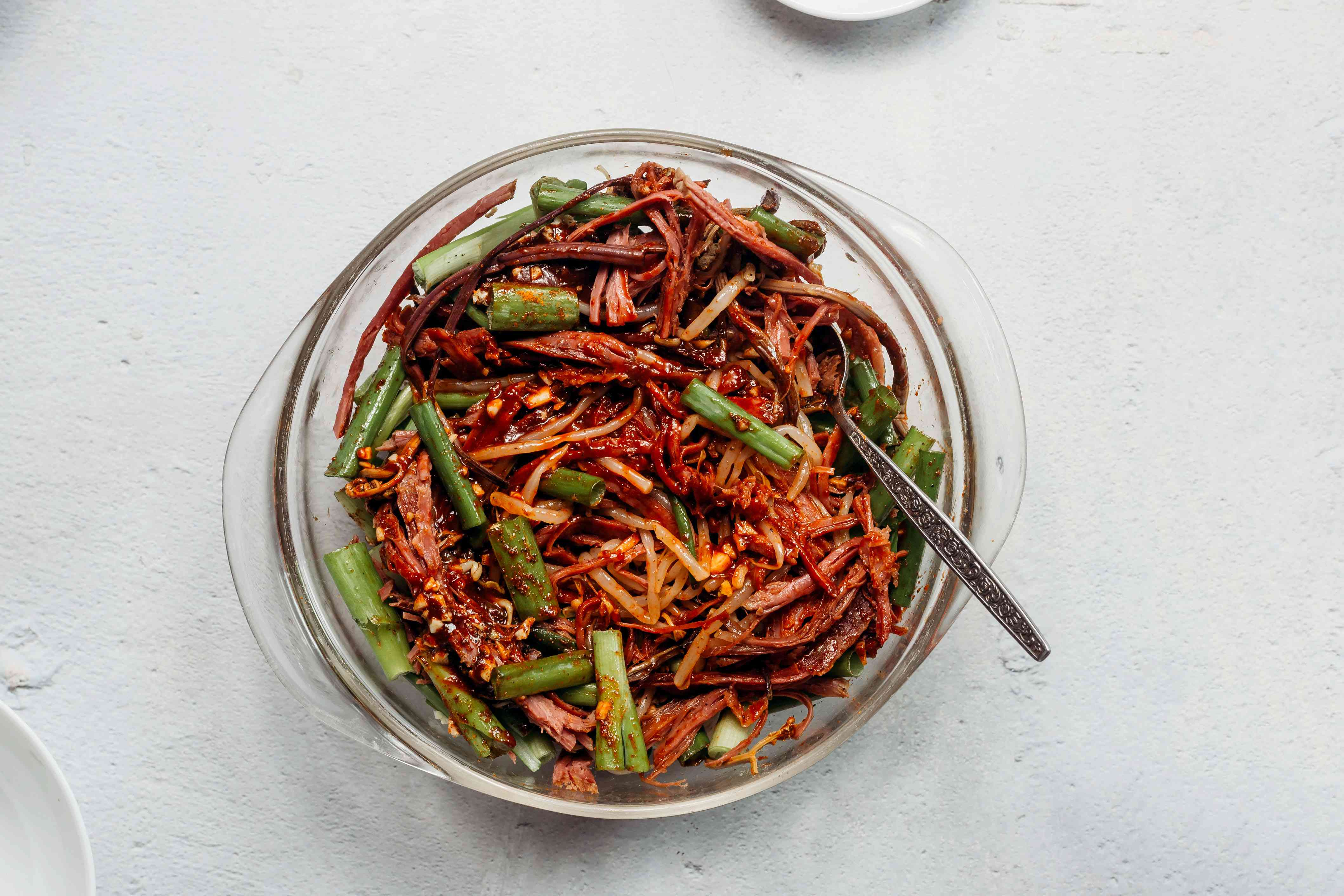 Seasoned beef and vegetables in a bowl