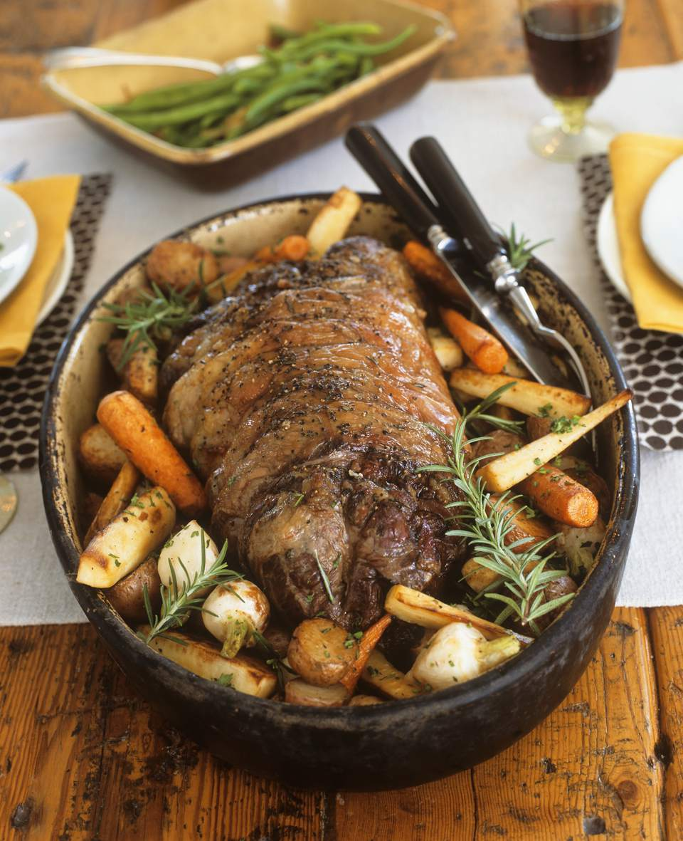 Roasted lamb with root vegetables and rosemary