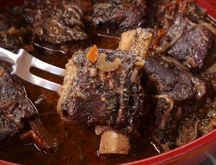 Tender short ribs of beef braised in red wine