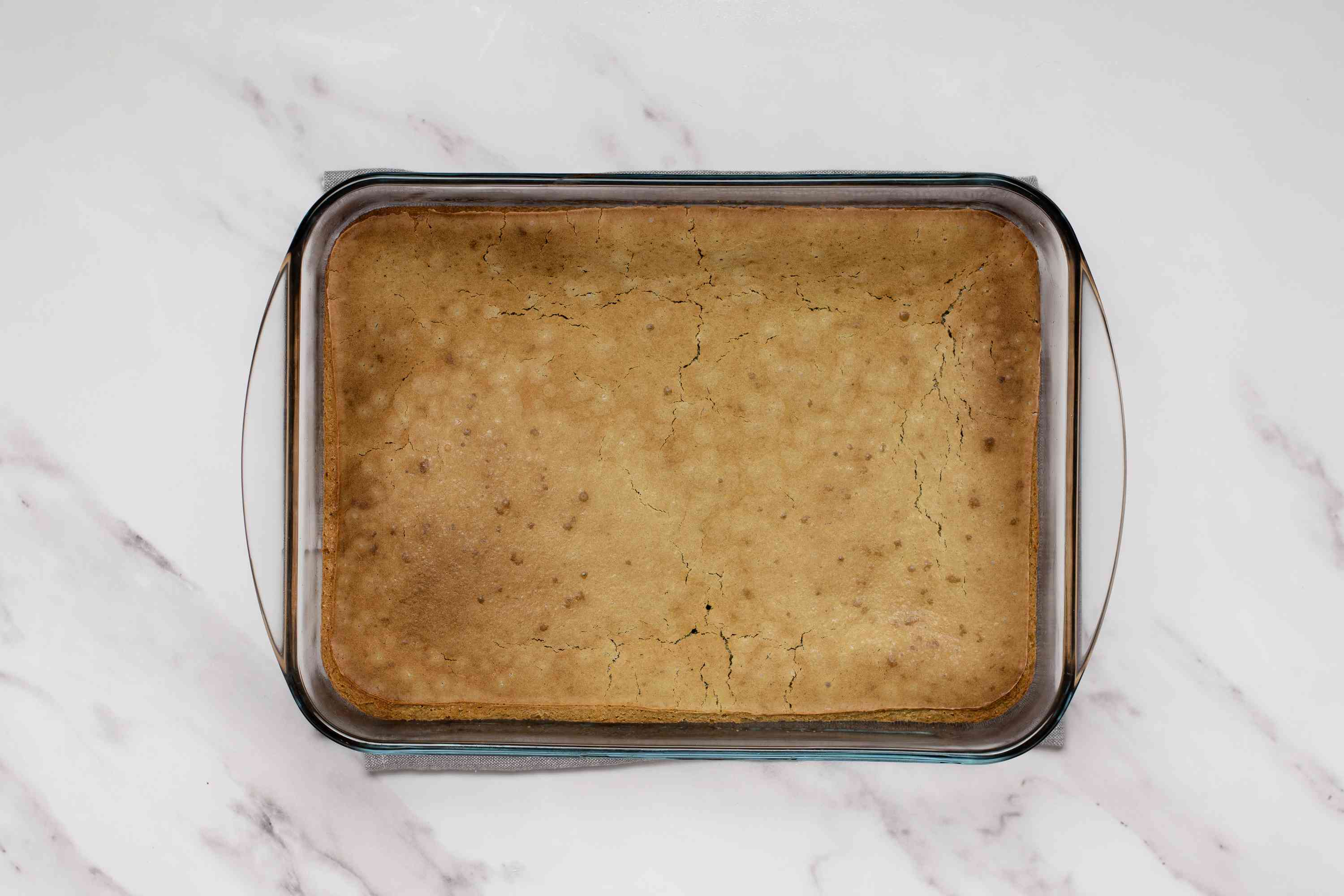 baked mochi in a baking dish
