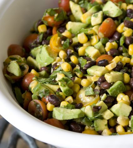 A bowl of southwest black bean and corn salad
