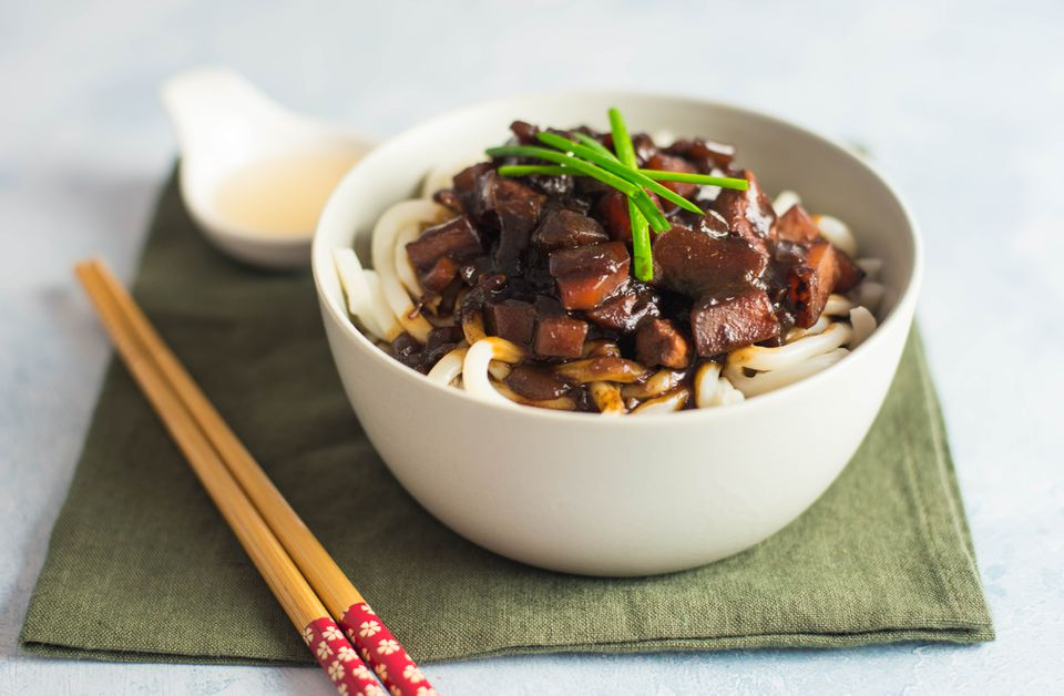 Korean noodles with black bean sauce