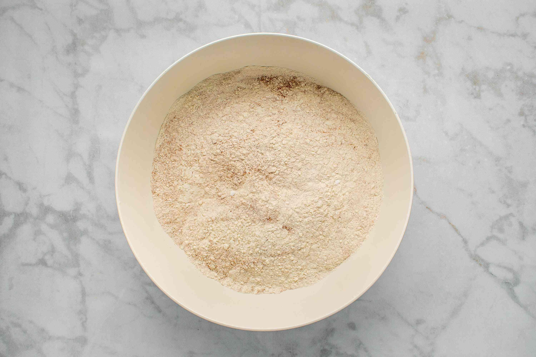 flour, cinnamon, baking soda, baking powder, and salt in a large bowl