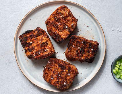 Vegan Blackened Grilled Tofu on a plate