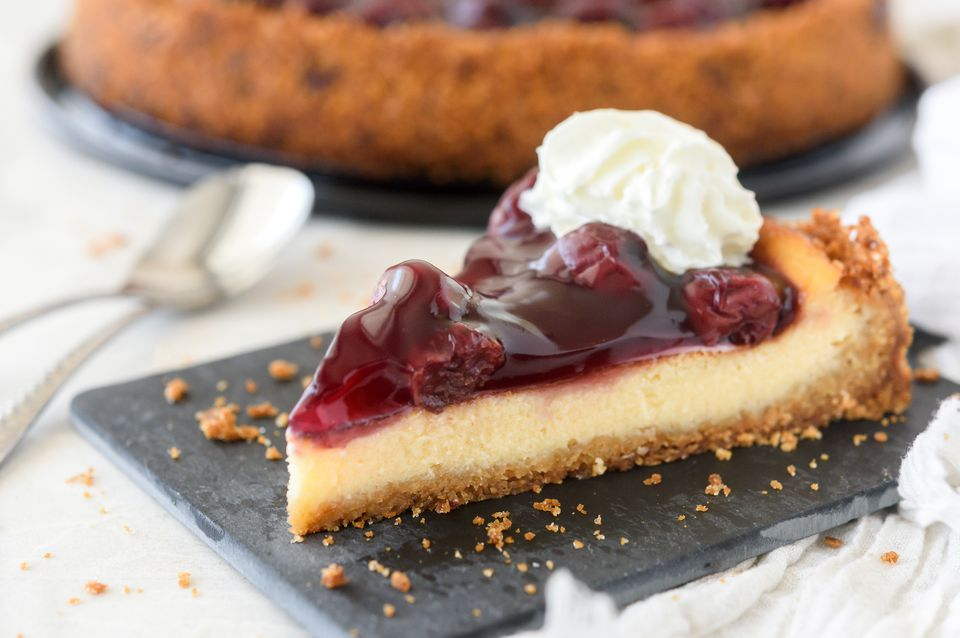 Homemade dairy-free cherry cheesecake