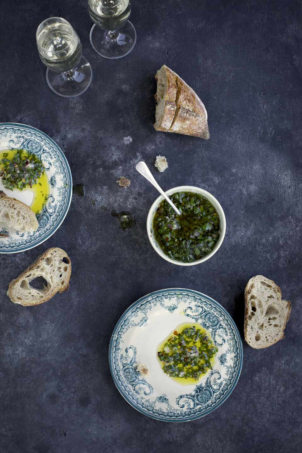 Italian Salsa Verde with bread