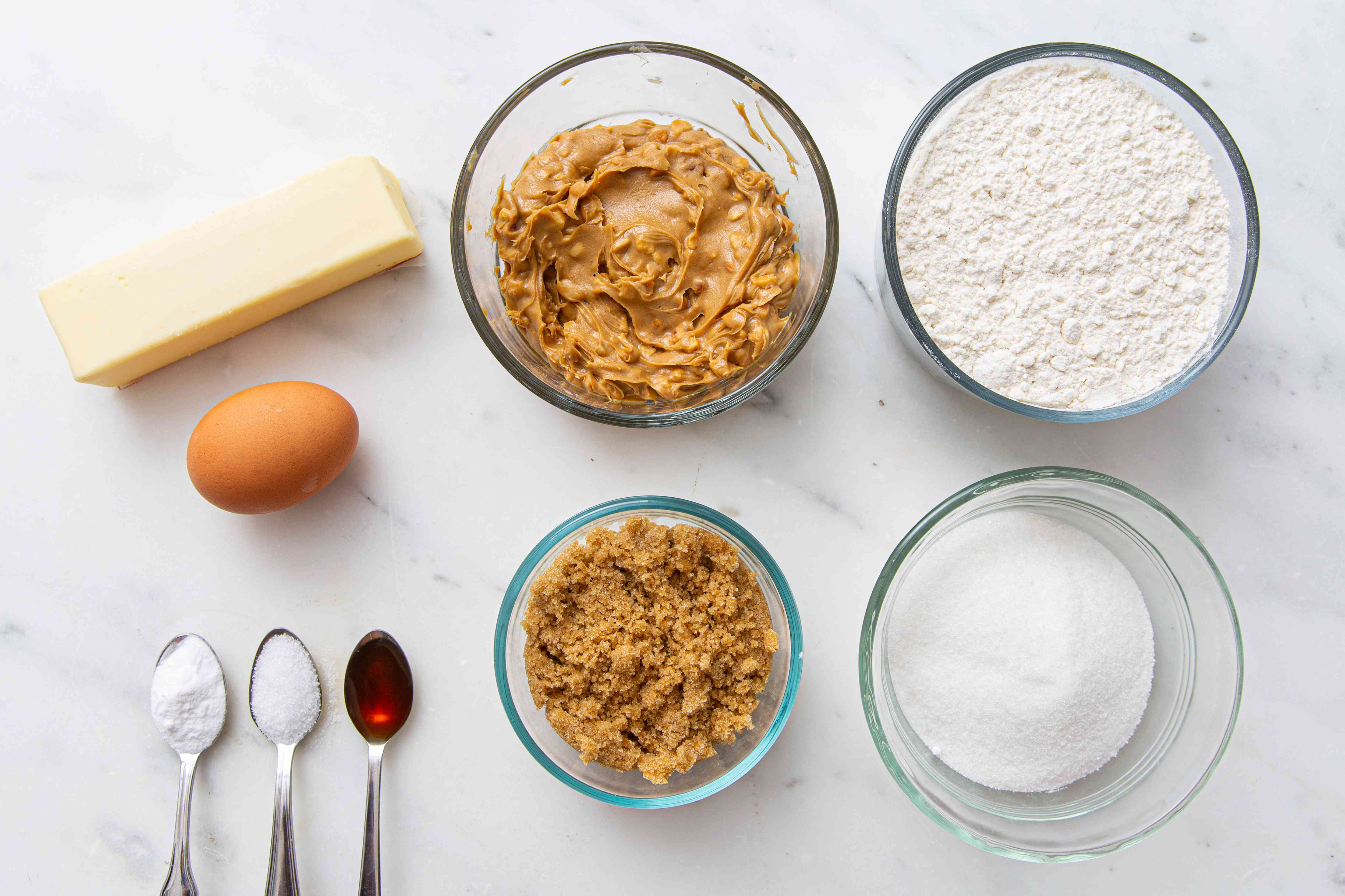 Ingredients for crunchy peanut butter cookies