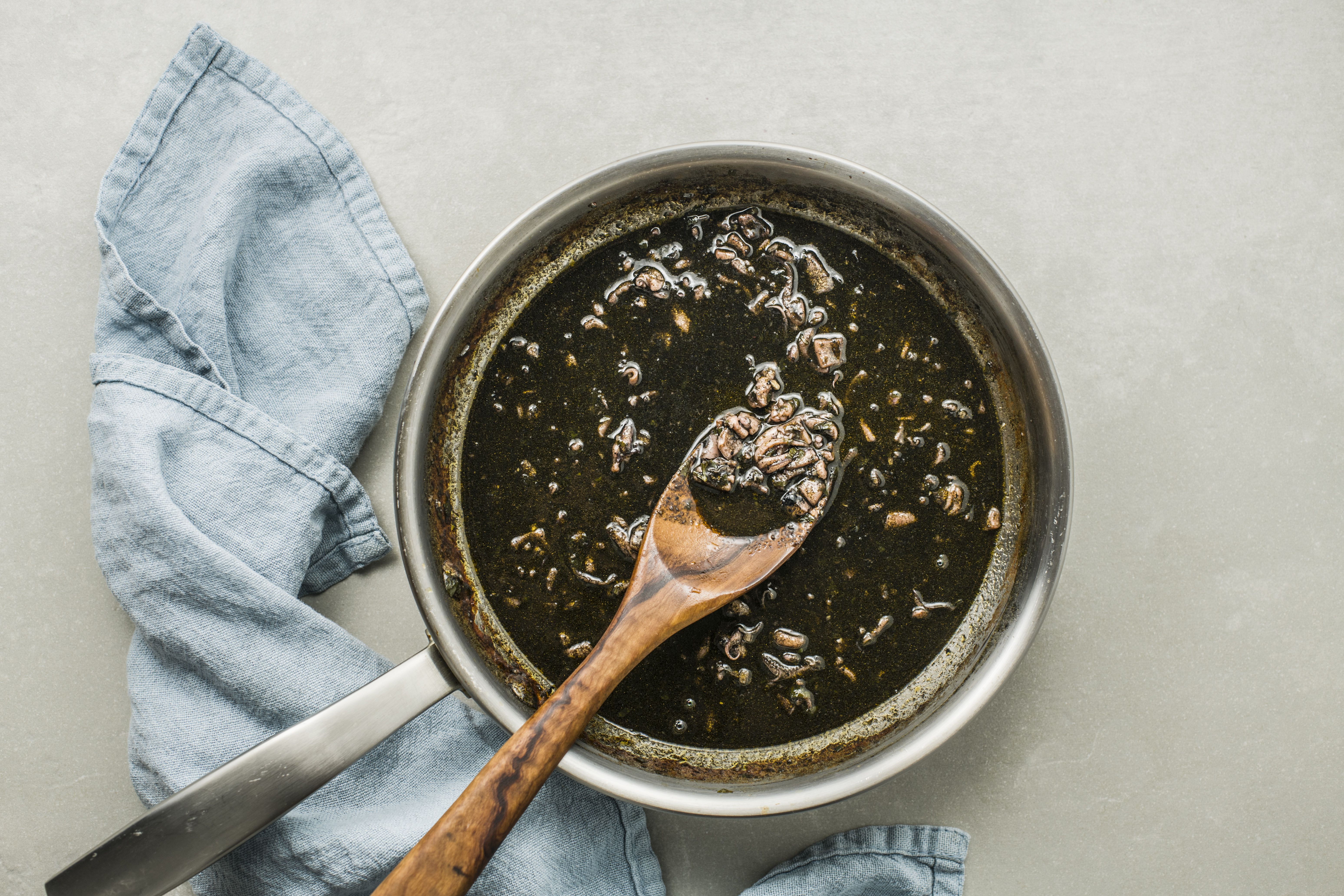 Squid ink added to sauce