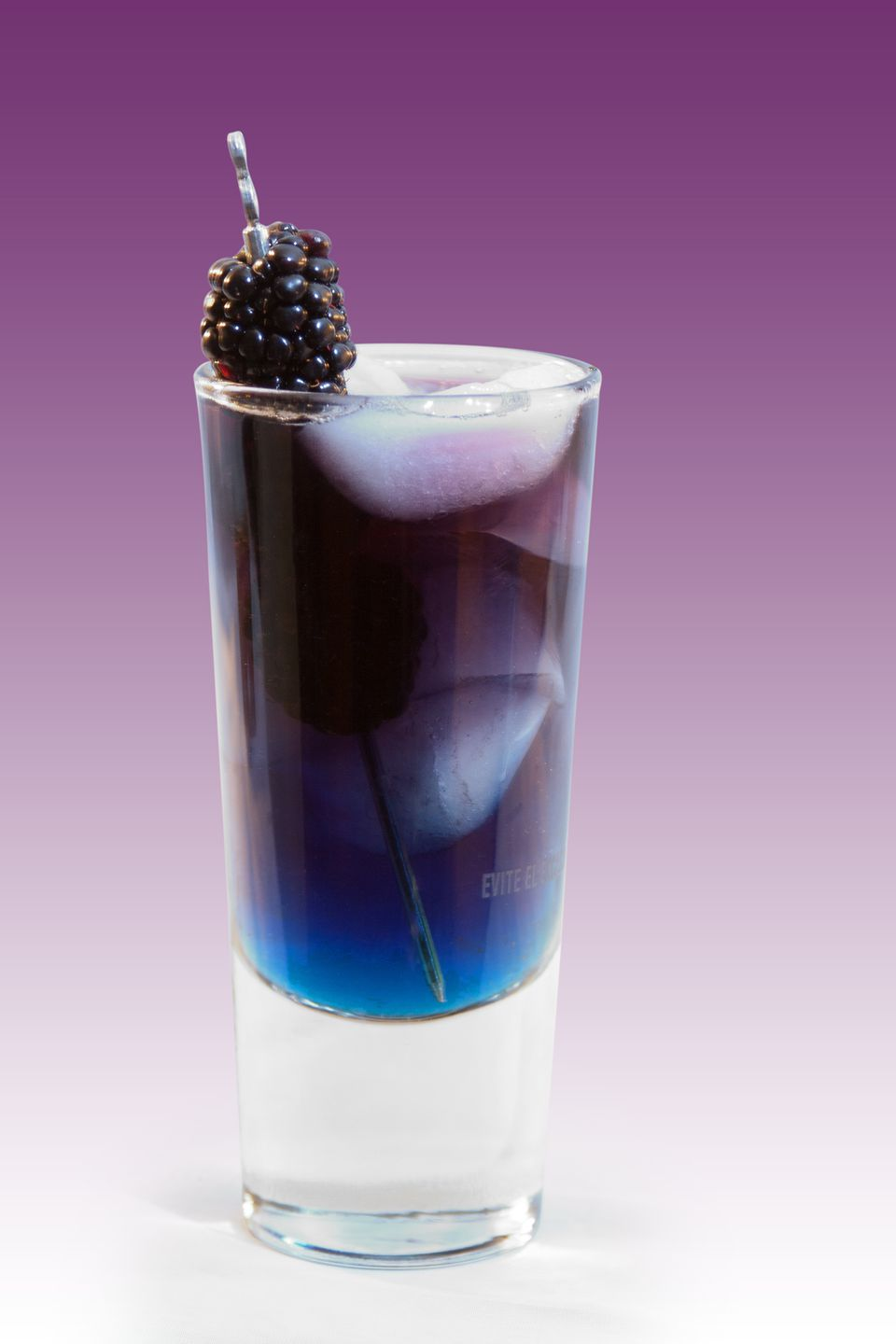 The Raven Cocktail, A Blue and Purple Layered Cocktail