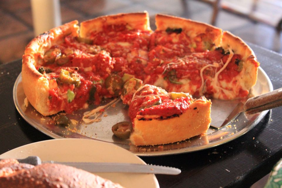 Chicago deep dish pizza pie
