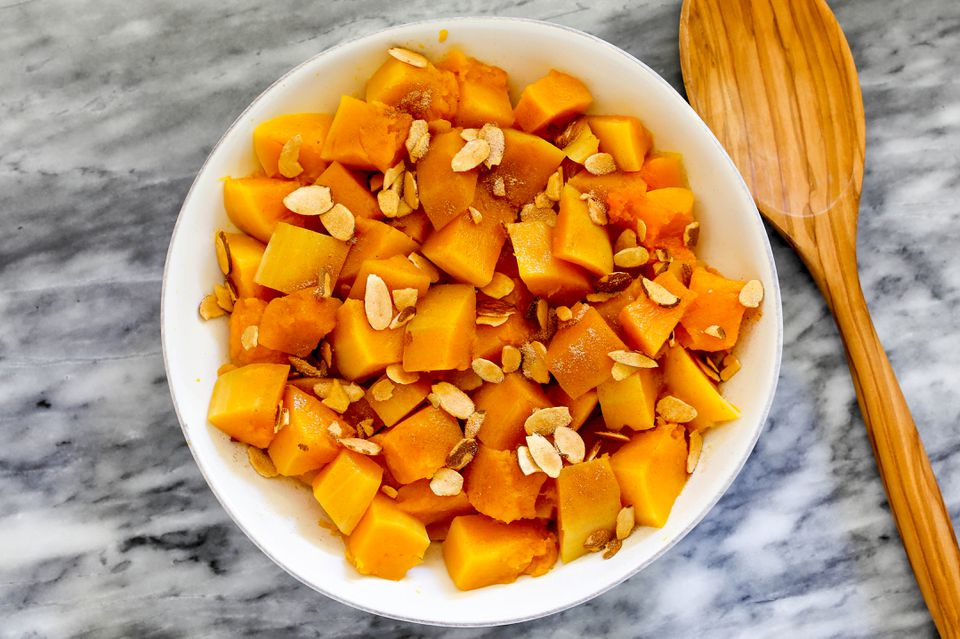 instant pot butternut squash in a serving bowl