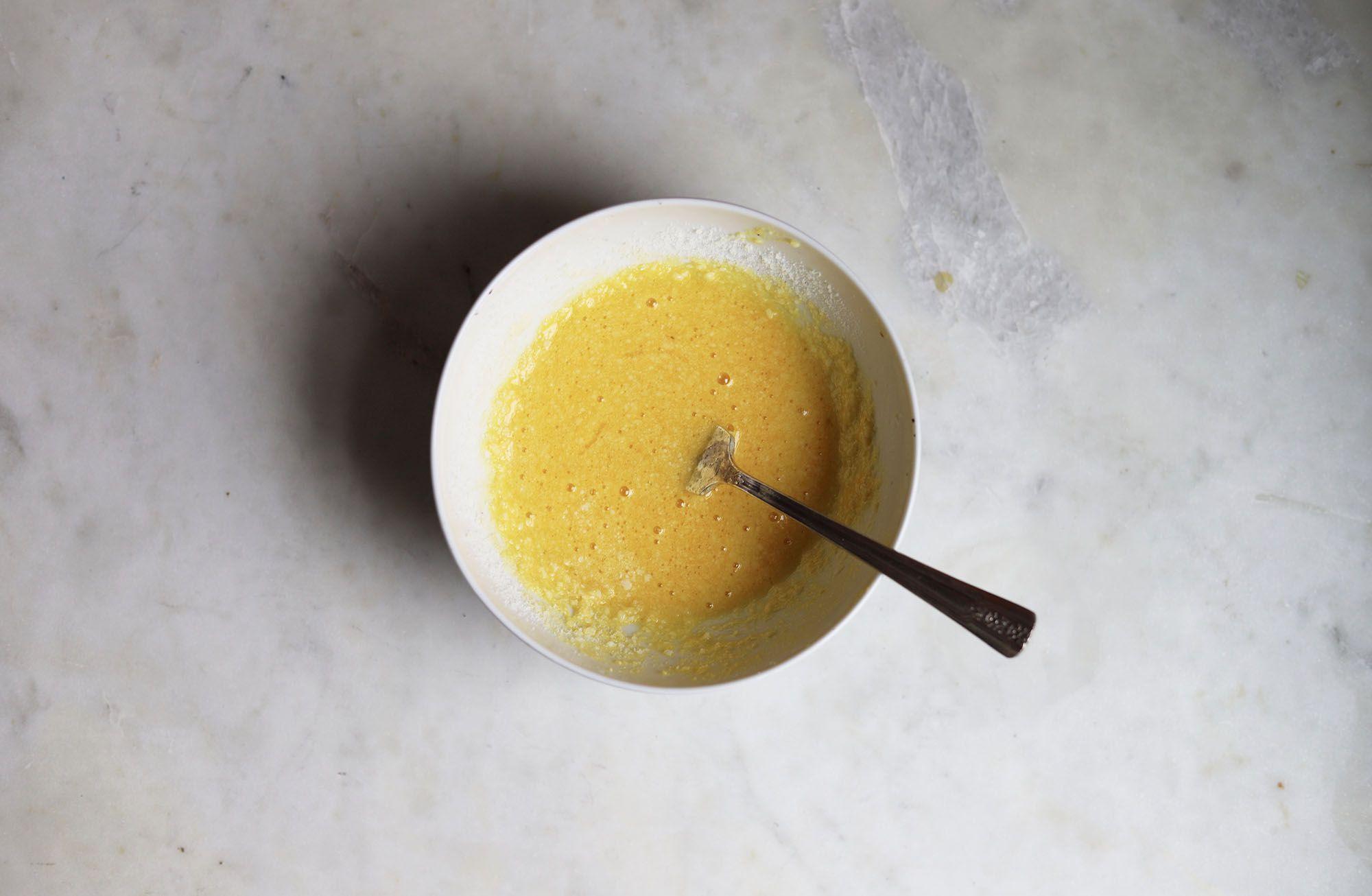 egg yolks beaten with pecorino cheese