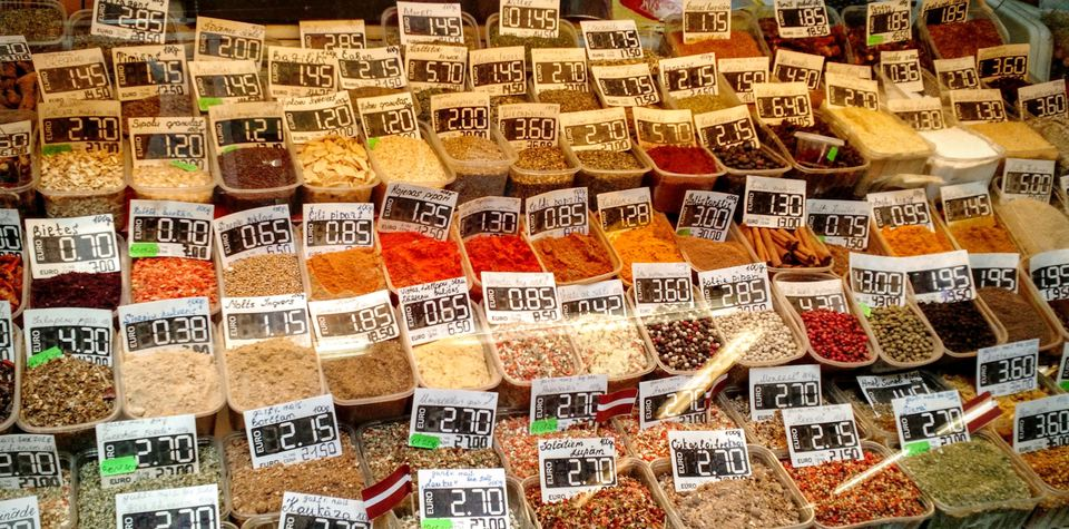 Full Frame Shot Of Herbs And Spices With Price Tags In Market