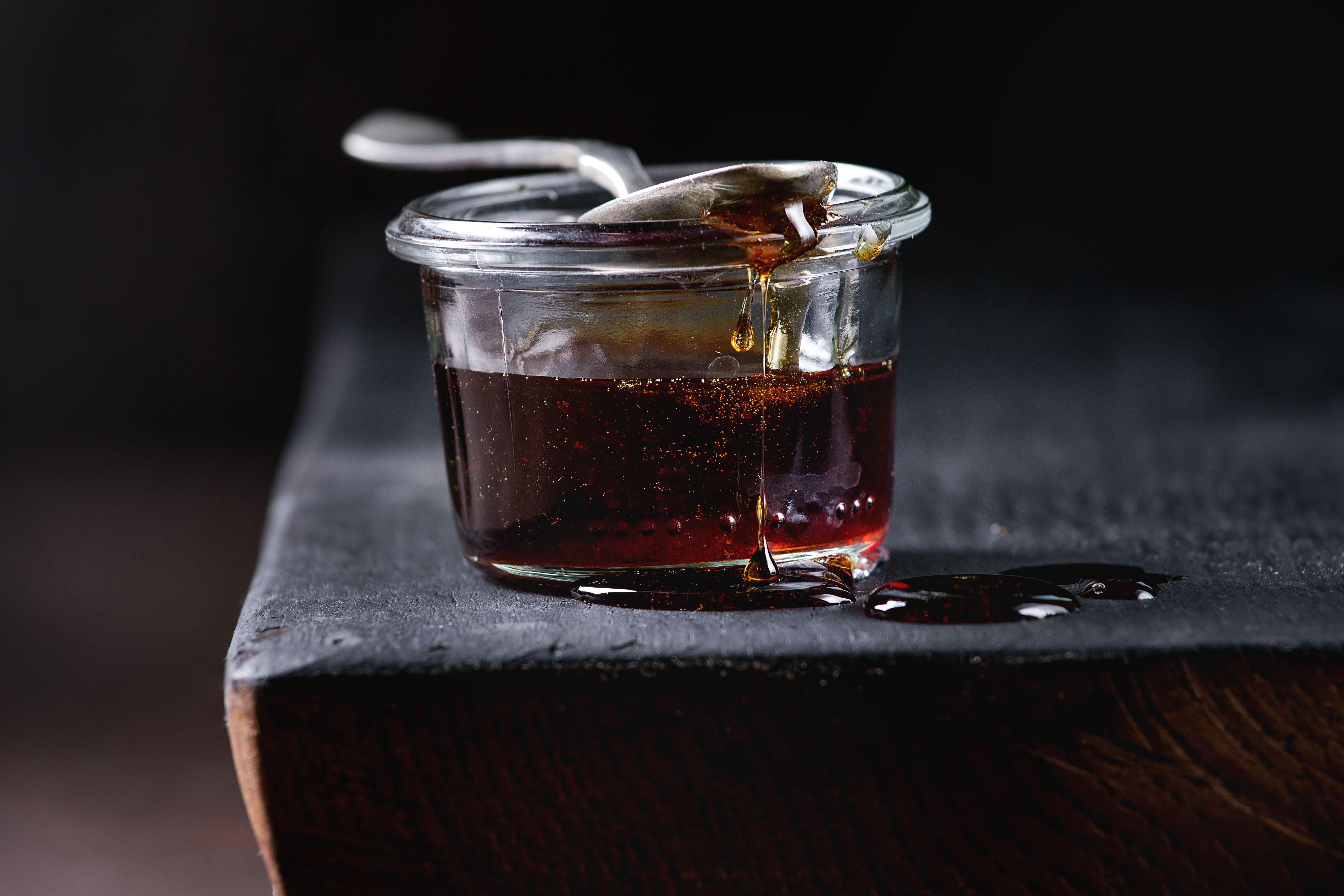 dark liquid in jar