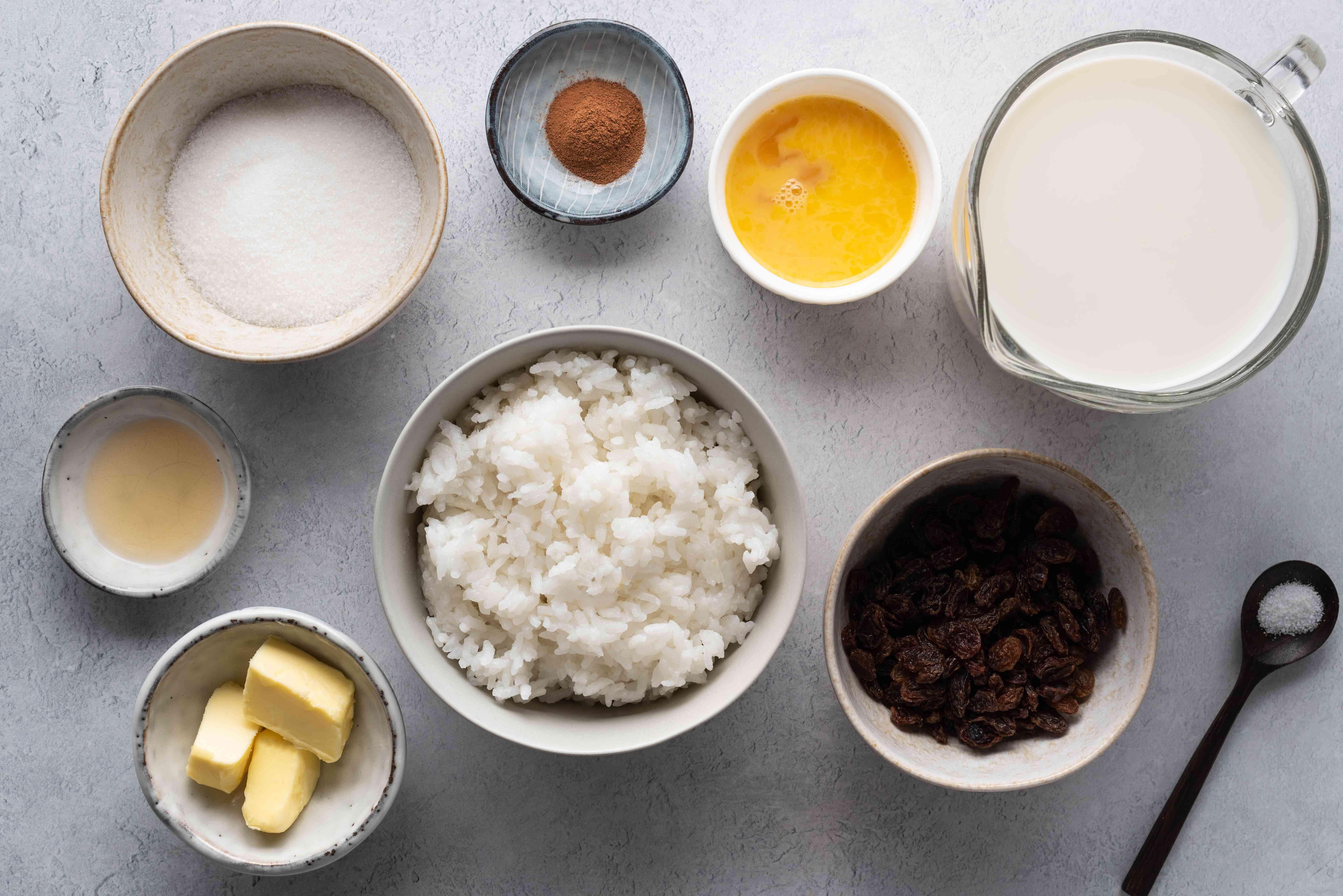 Stovetop Rice Pudding ingredients