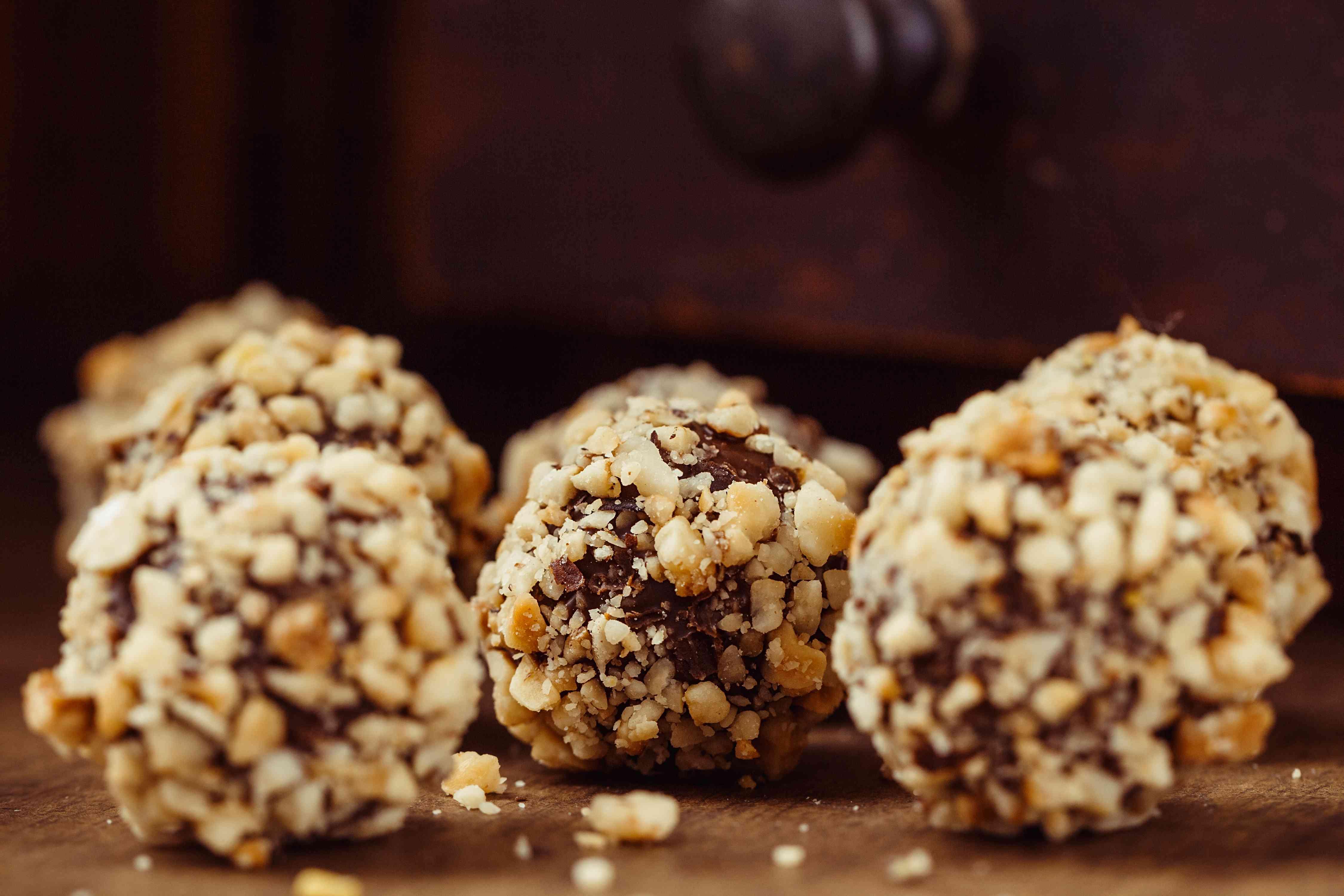 Homemade hazelnut truffle candies