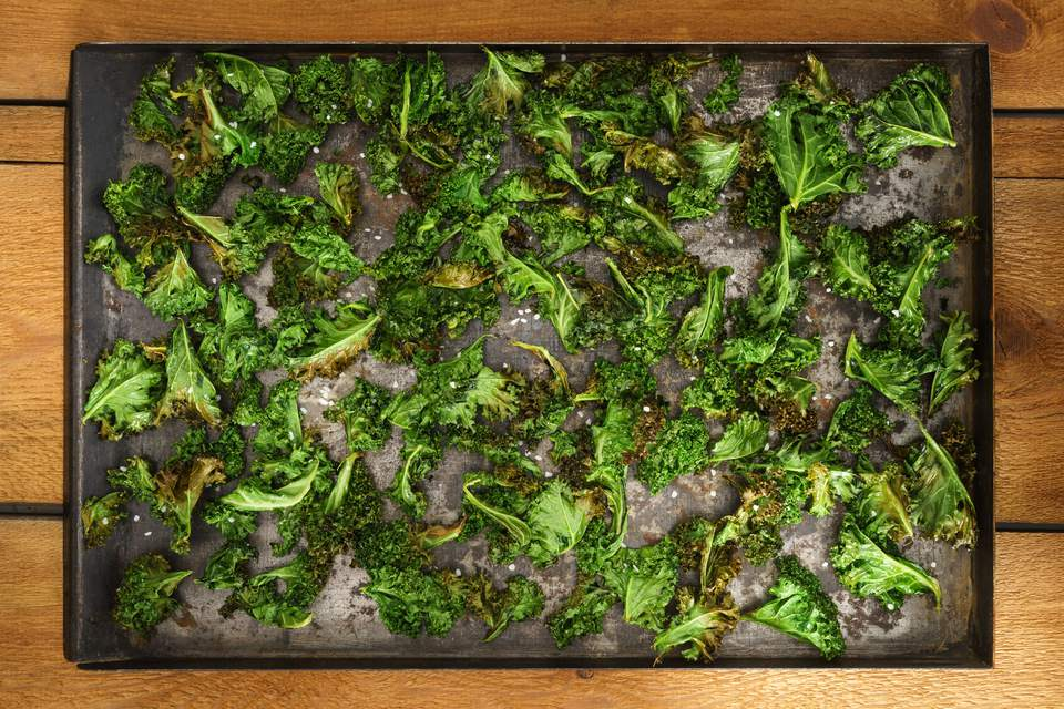 Kale chips in an oven pan