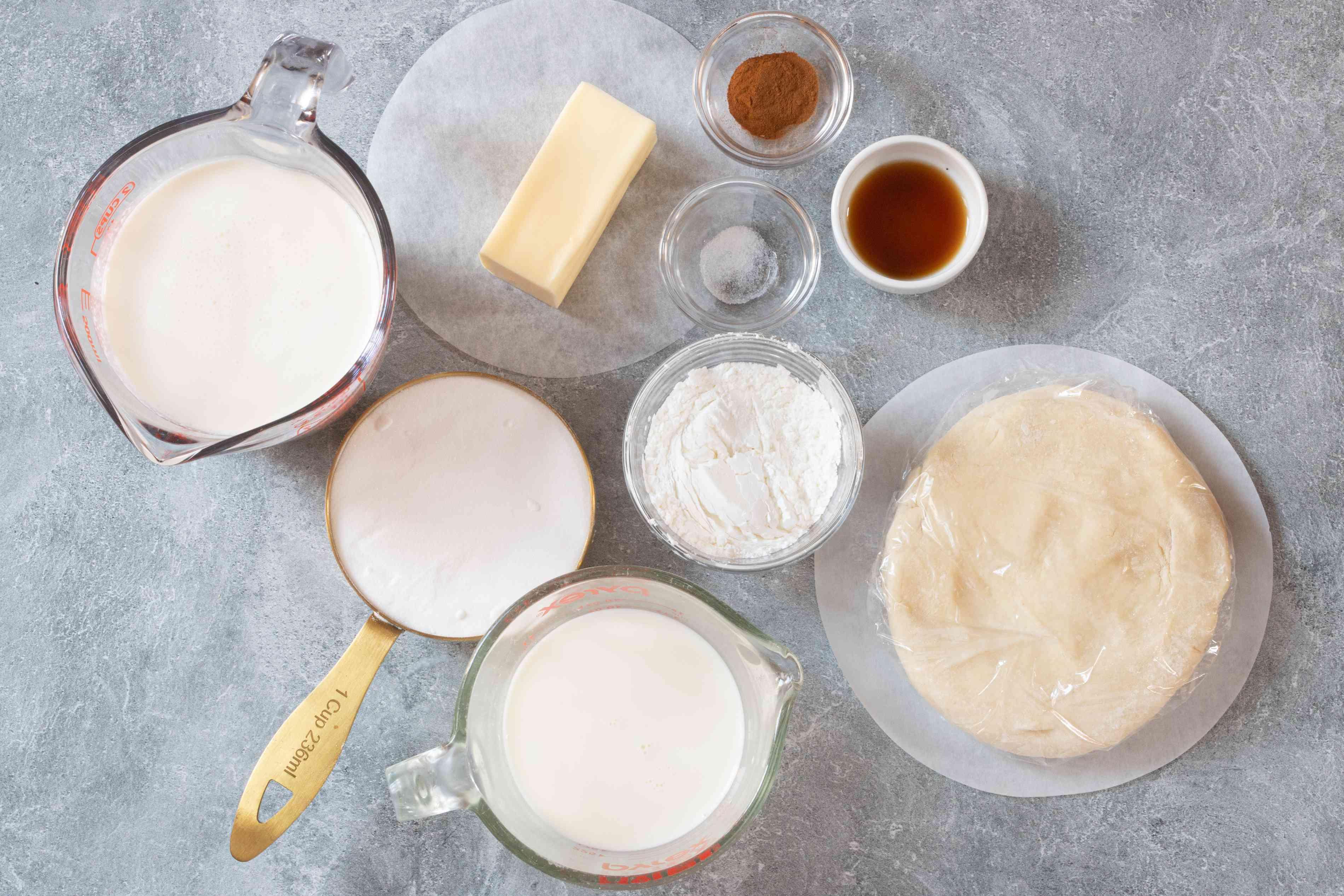 Ingredients for sugar cream pie.