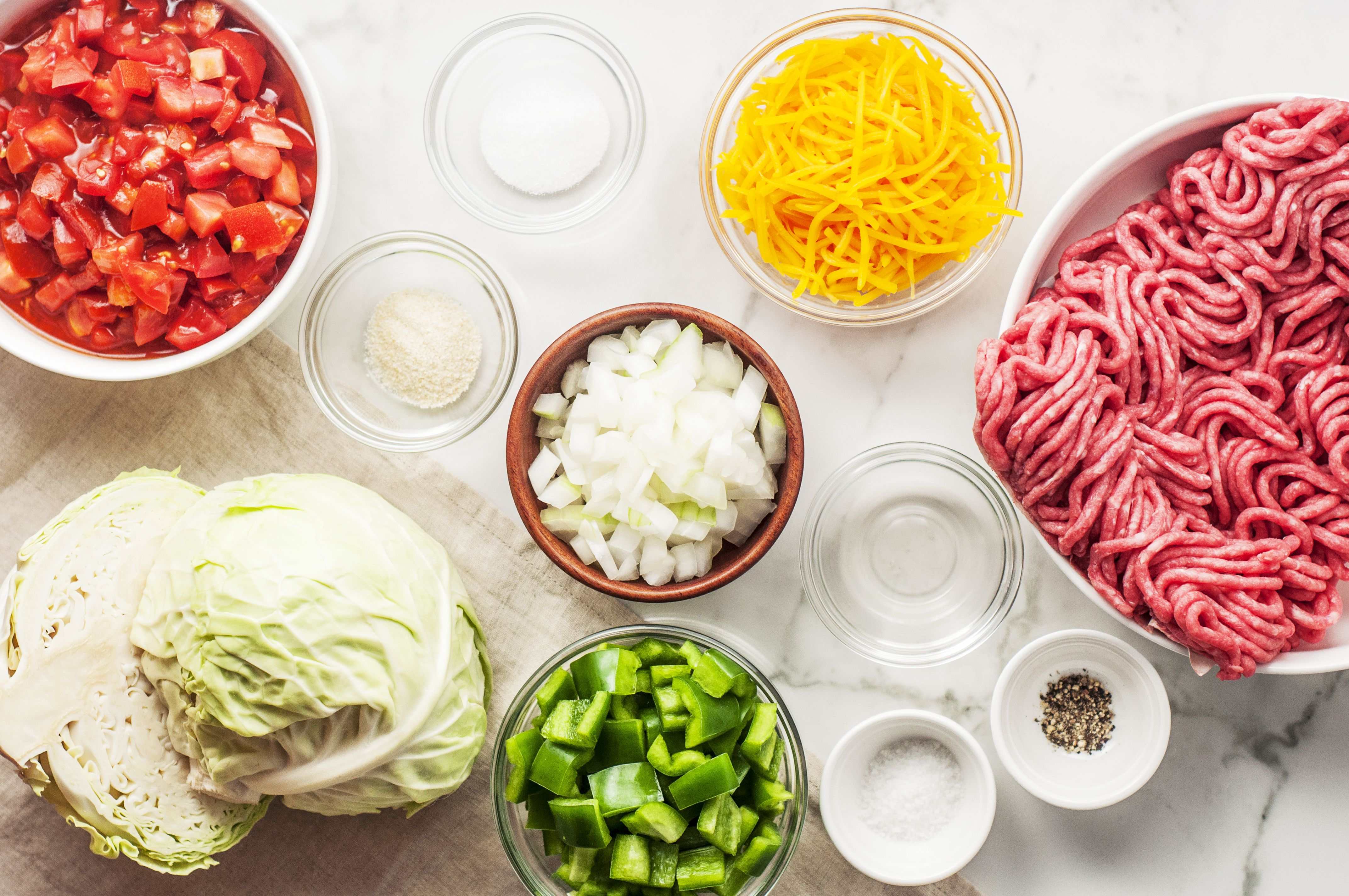 Ingredients for ground beef and cabbage casserole