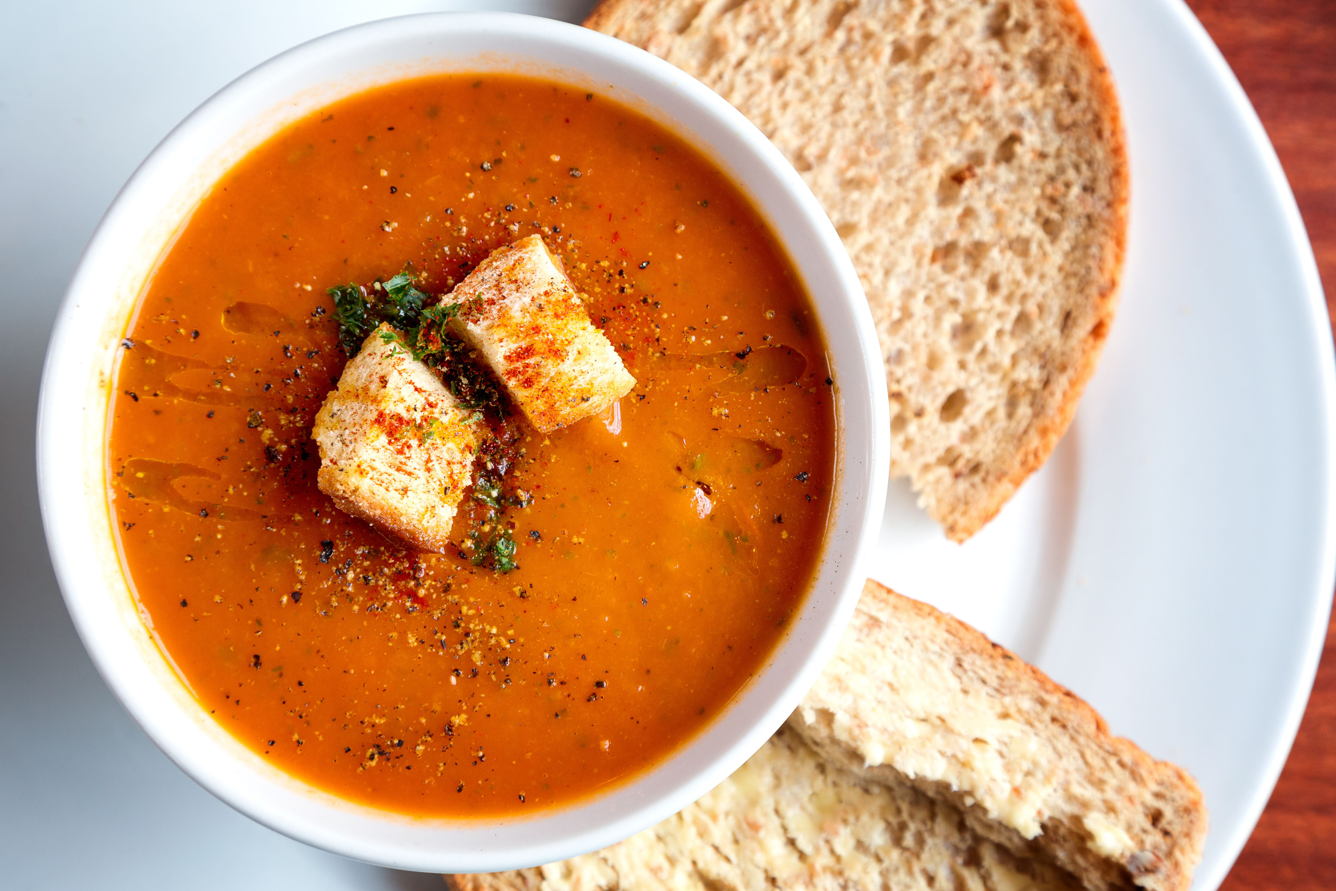 Tomato soup and croutons