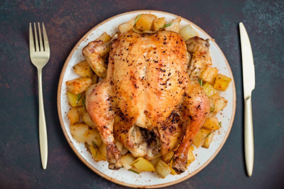 Iron skillet roasted chicken.