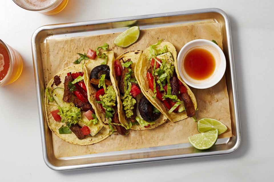Vegan Seitan Tacos with Roasted Vegetables
