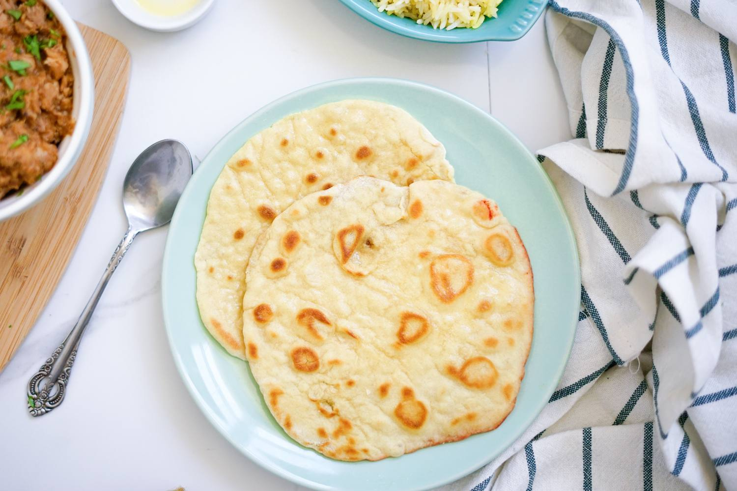 West Indian-style roti flatbread on a plate