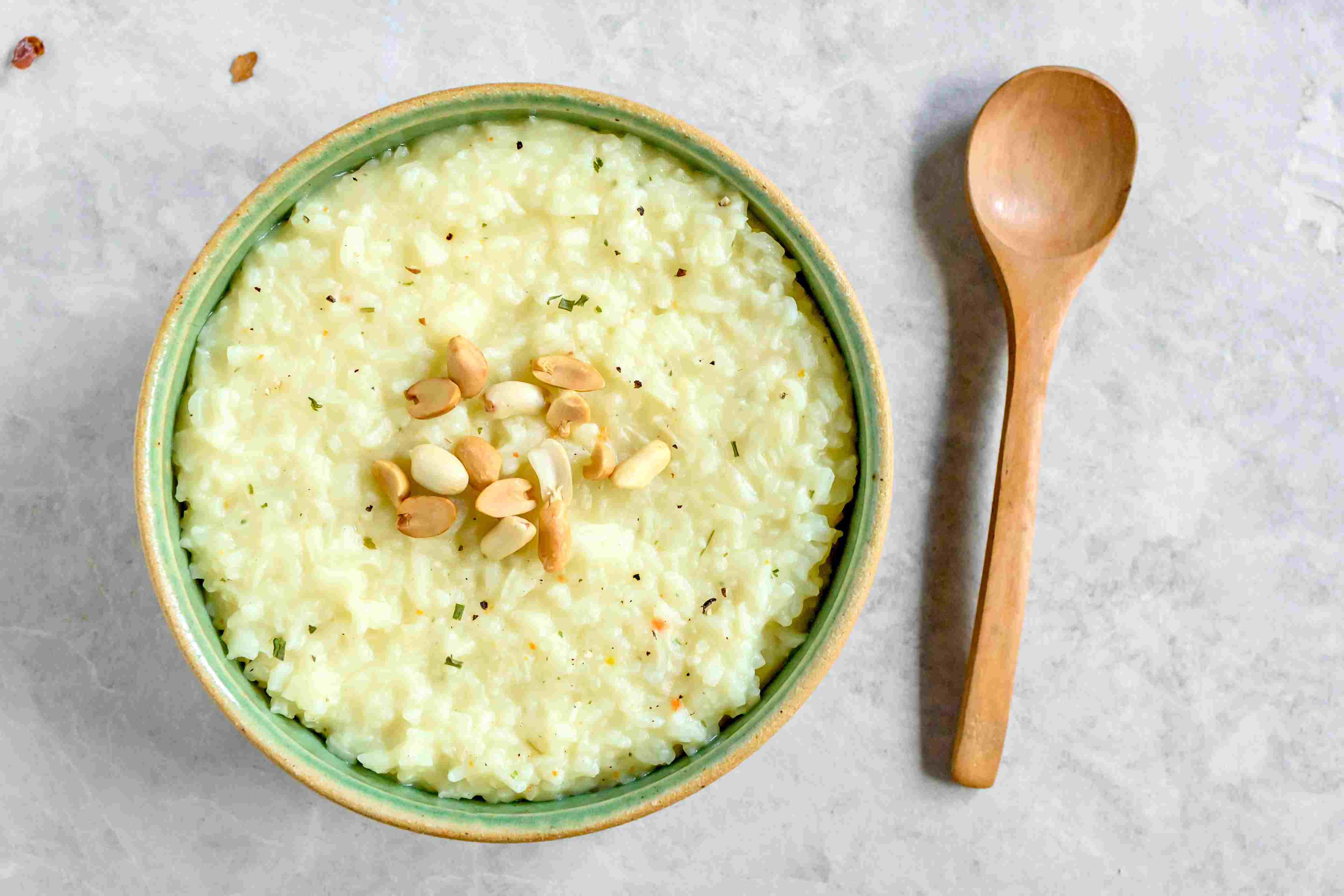 Basic congee rice topped with nuts