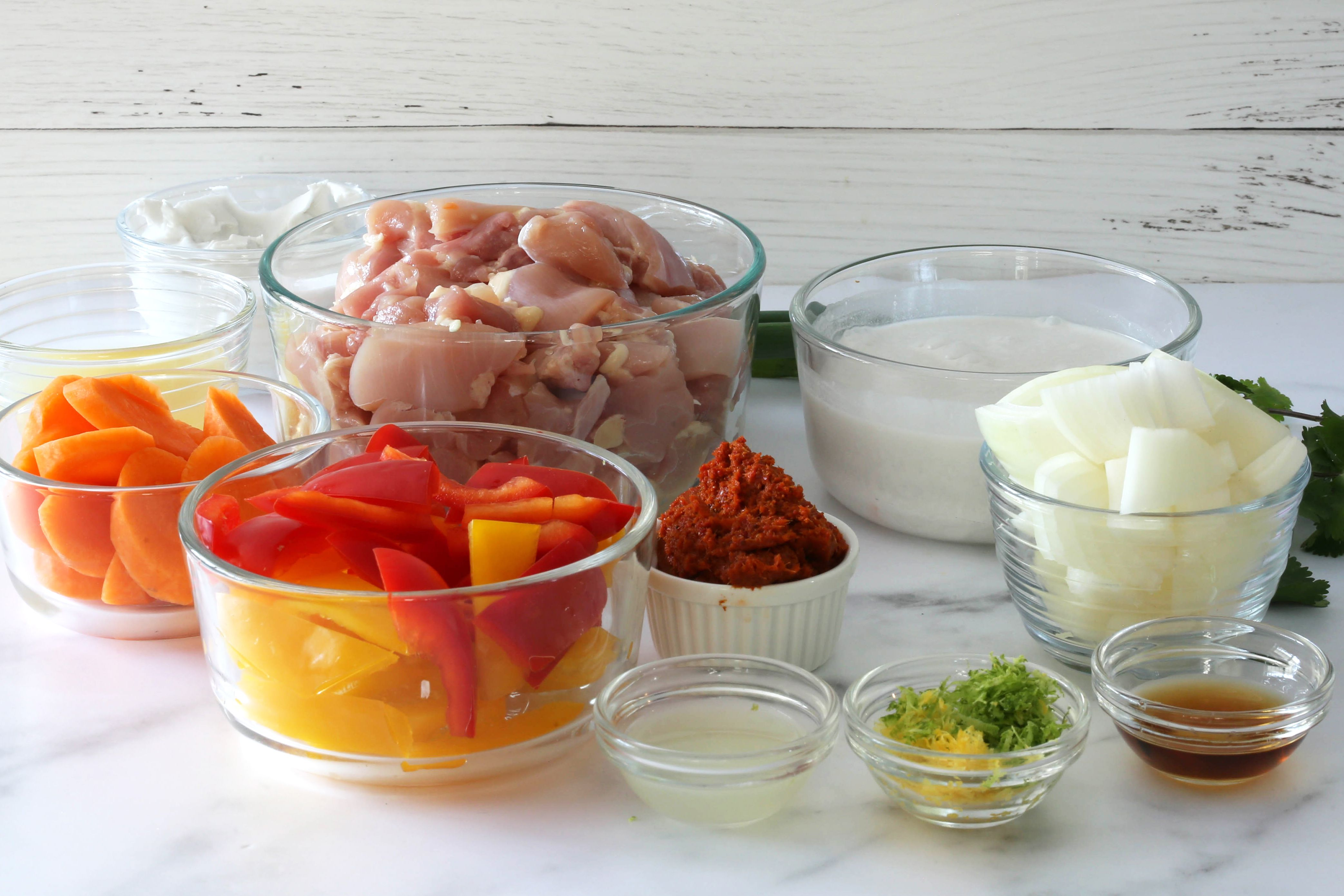 Ingredients for Instant Pot Thai curry with chicken.